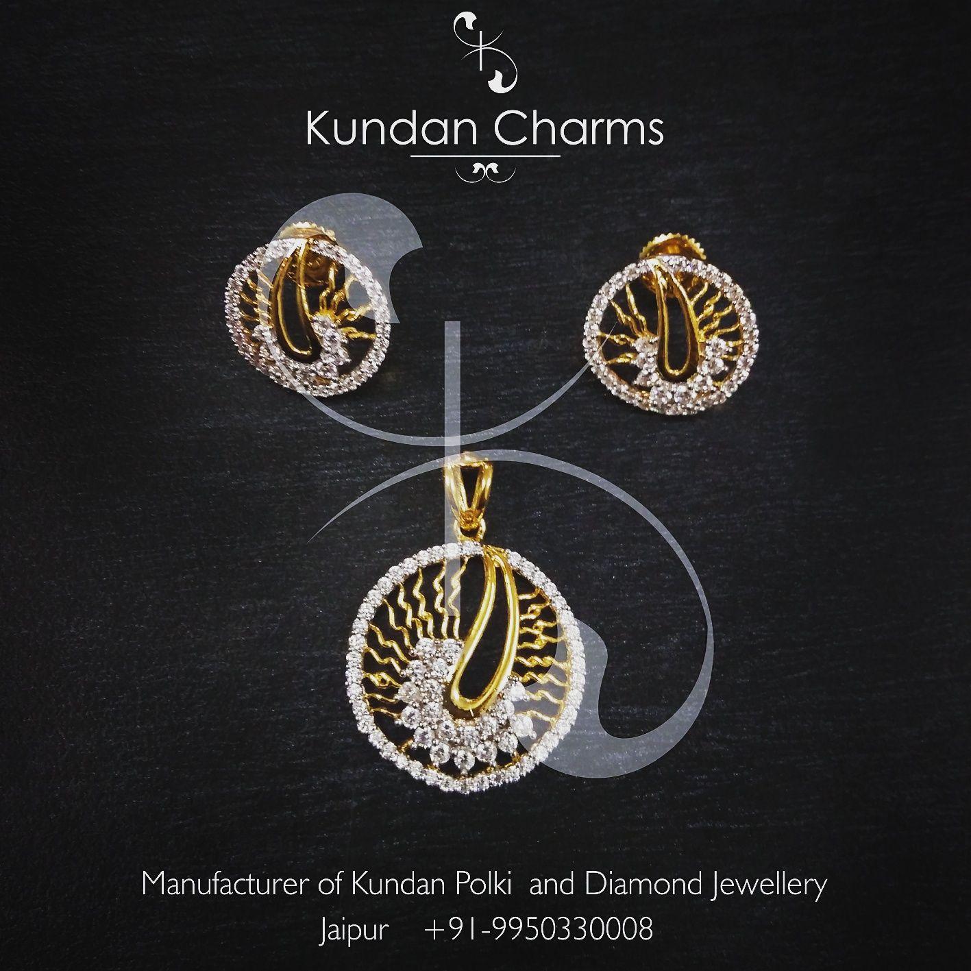 Round diamond and gold kitty pendant set kundan charms pinterest round diamond and gold kitty pendant set aloadofball Choice Image