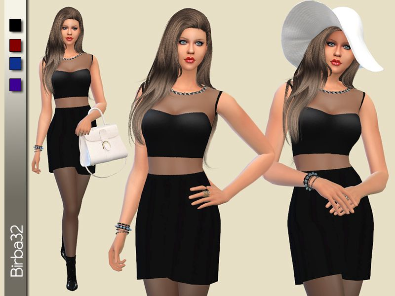 A black short dress with some transparencies and a rich decorations of diamonds around the neck. In four dark colors.  Found in TSR Category 'Sims 4 Female Formal'