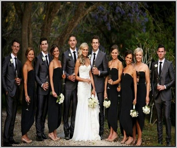 black bridesmaid dresses and grey groomsmen suits - Google Search ...