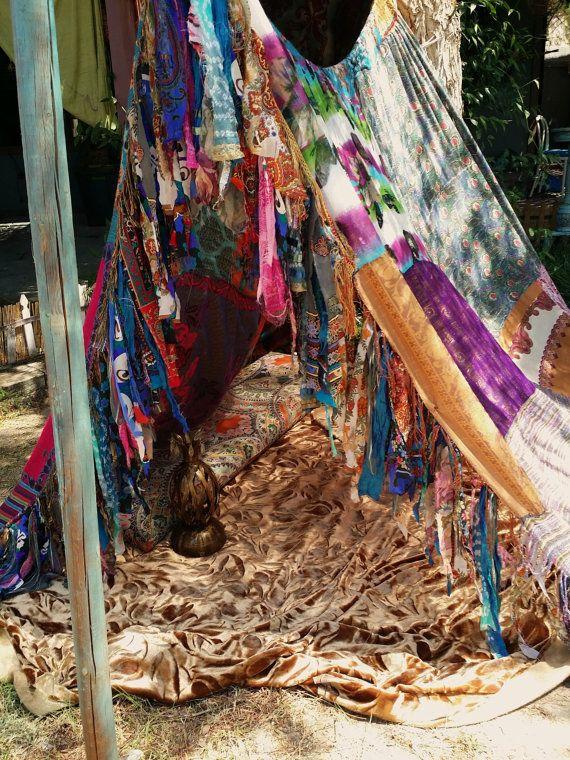 Boho tent teepee meditation vintage scarves Gypsy ...