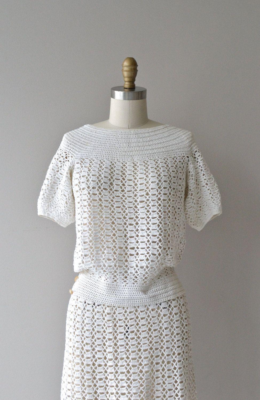 Bestway crochet dress • vintage 1930s crochet dress • cotton crochet ...