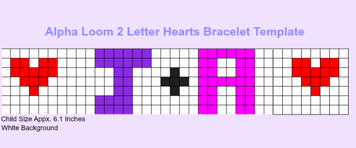 Free Printable Alpha Loom JA Letter Template With Hearts  Alpha
