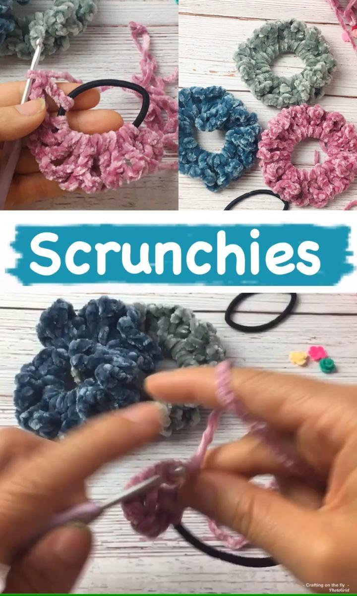 DIY Velvet Crochet Scrunchies Pattern -   diy Scrunchie crochet