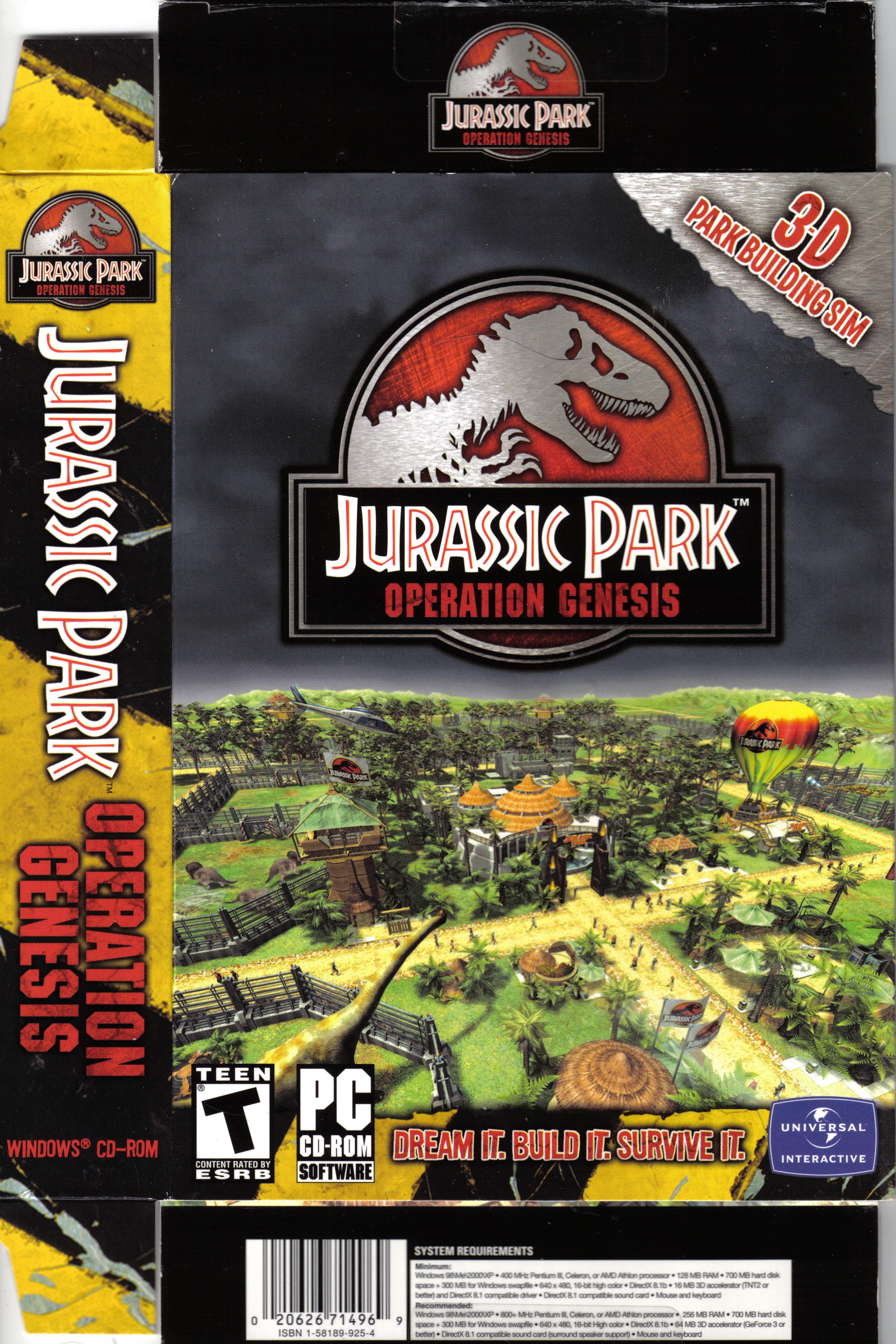Jurassic ParkOperation Genesis front Jurassic park