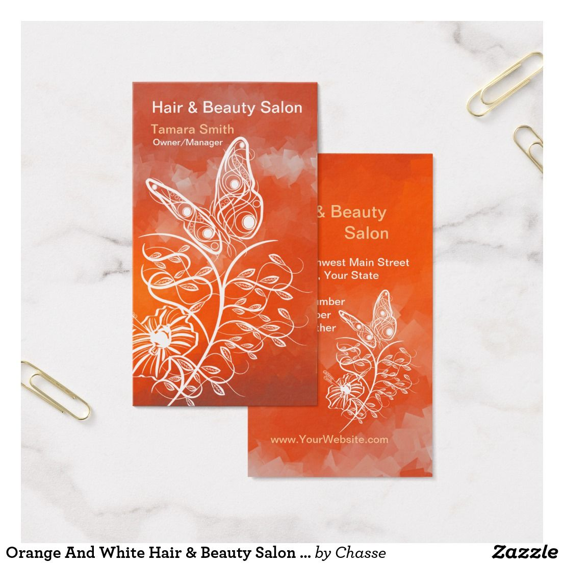 Orange And White Hair & Beauty Salon Business Card | Guest Pinner ...