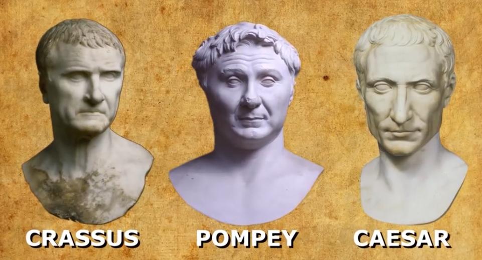 First Triumvirate Marcus Licinius Crassus Pompey The Great And Julius Caesar