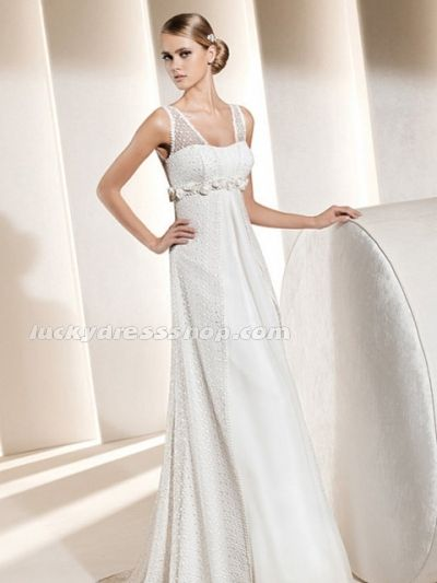 Simple White V-neck Satin Hall Wedding Dress With Flower(s) (MW3AB1)-LuckyDressShop.com