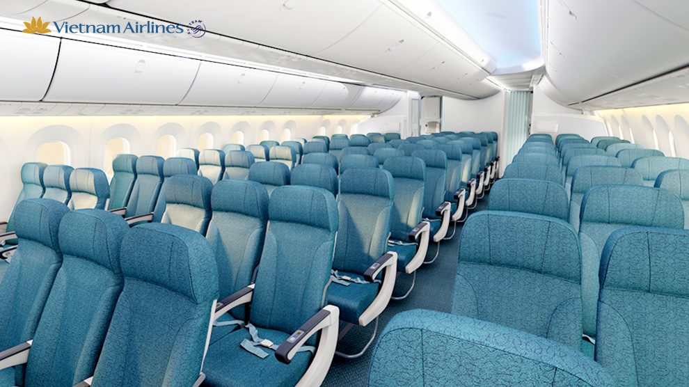 rendering of the economy class cabin on vnas boeing 787 9 dreamliner vietnamairlines boeing 787 dreamliner newplane