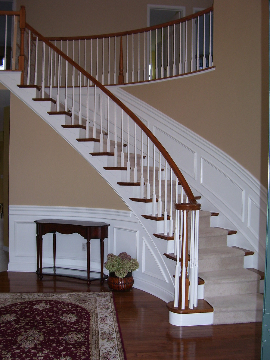 Wainscoting Along Curved Stairs