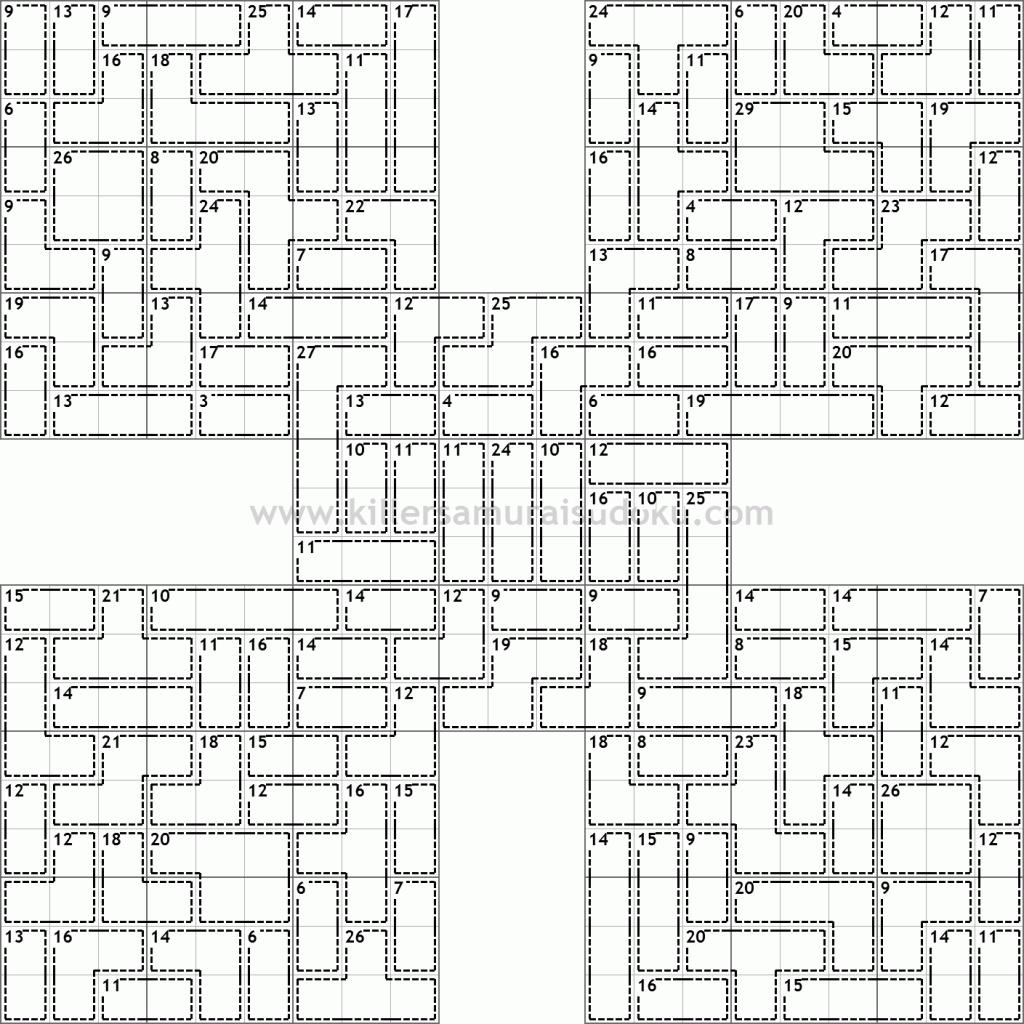 Killer Samurai Sudoku  DIFFICULT! | Sudoku | Printable