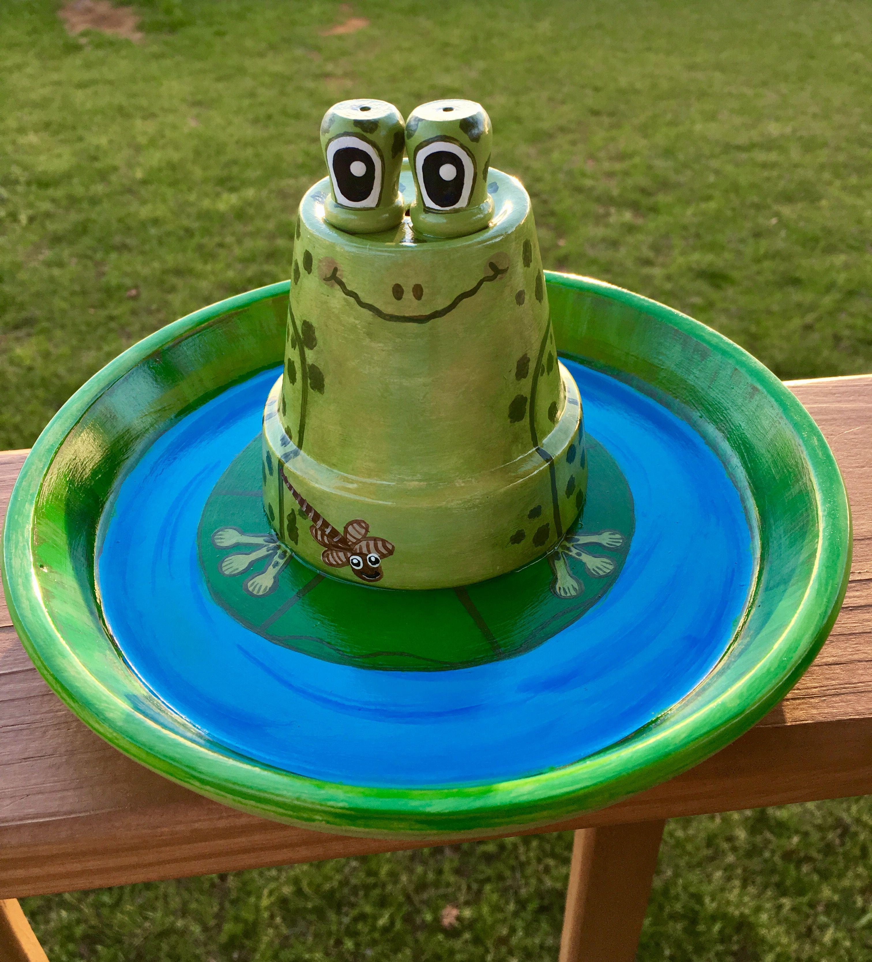 Flower Pot Frog in a Pond   Flower pot people, Flower pots ...