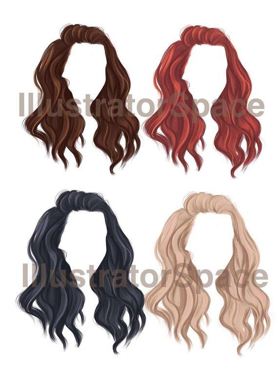 Hair Clip Art Digital Download Hair Set Clipart Custom Hairstyles Hair Clipart Character Hair Fashion Girl Gift 18 Png Images In 2021 How To Draw Hair Hair Clipart Short Hair Drawing