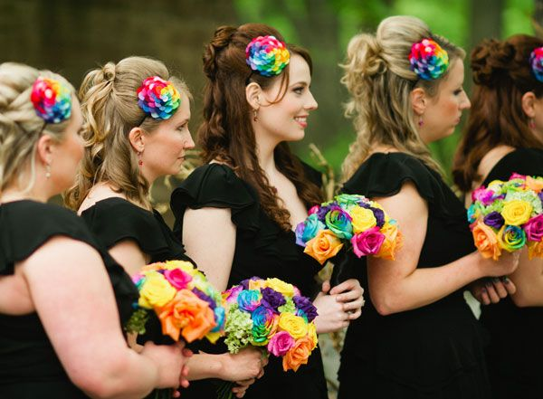 Rainbow Roses To Add Some Color A Black And White Wedding