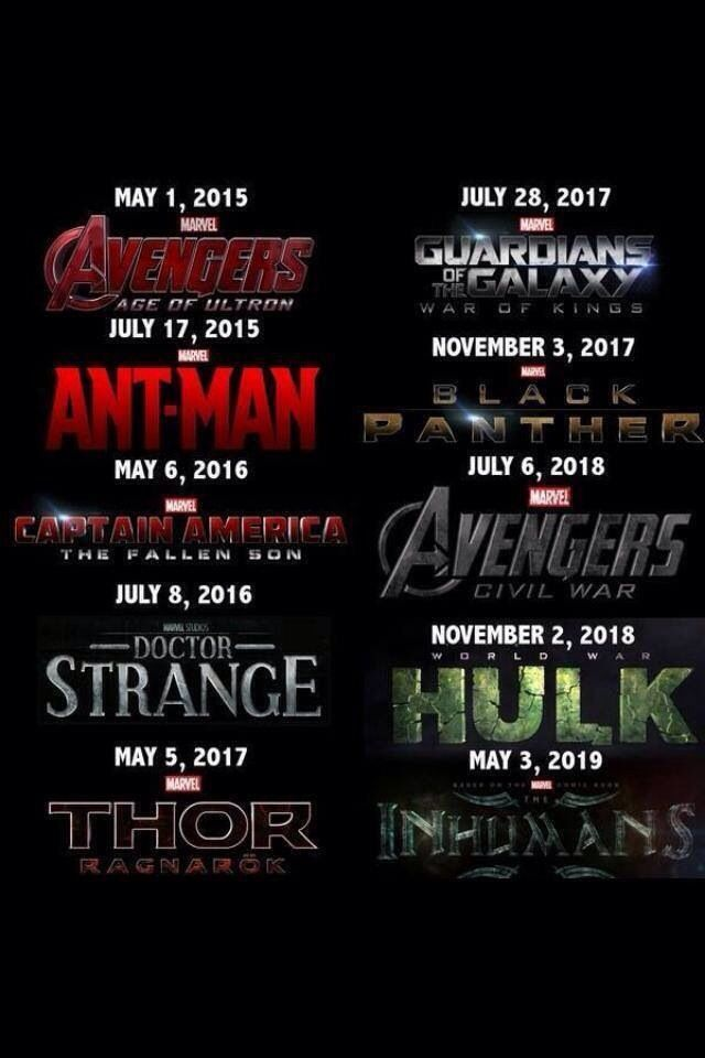 marvel film liste a venir