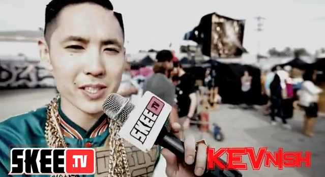 kev nish while doing interview of dirty bass. far east movement candid; skeetv