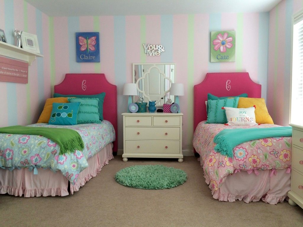 Twin Girls Room Makeover With Upholstered Monogramed