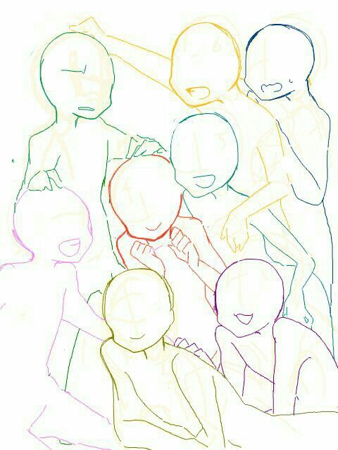 Draw The Squad 8 Drawings Of Friends Anime Poses Reference Drawing Poses