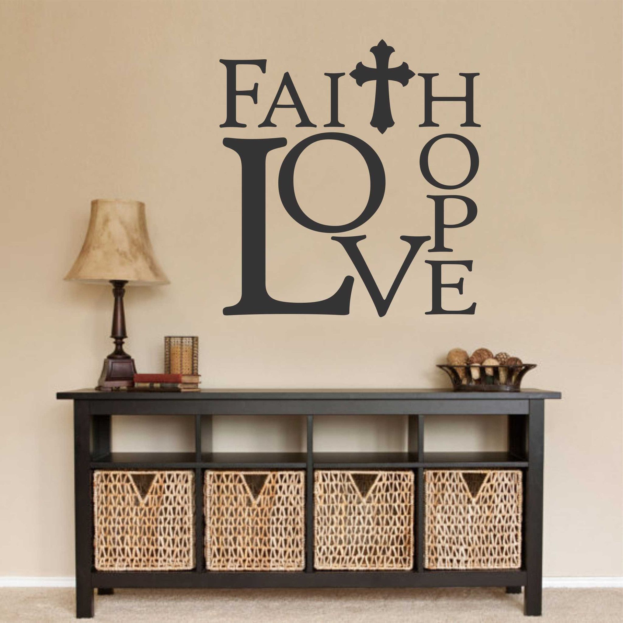 Faith hope love wall decal religious quote vinyl lettering in