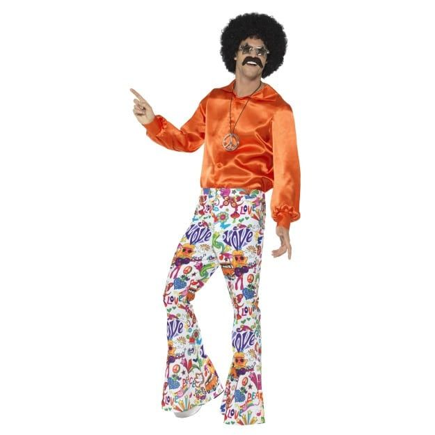 60s 70s Flared Trousers Mens Disco Groovy Fancy Dress Costume Accessory