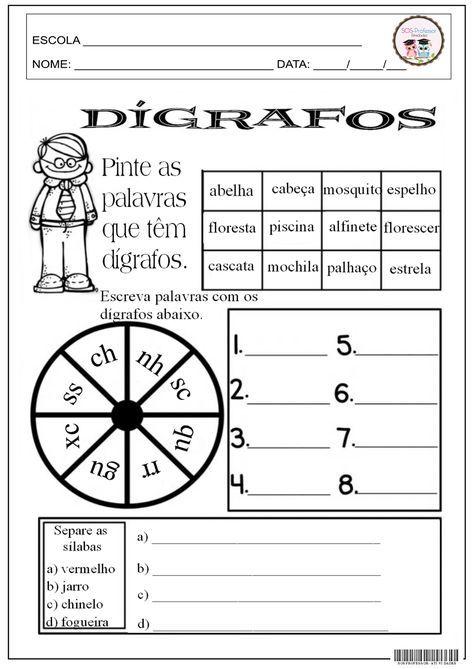 Digrafos 1 Com Imagens Palavras Com Digrafos Atividades Com
