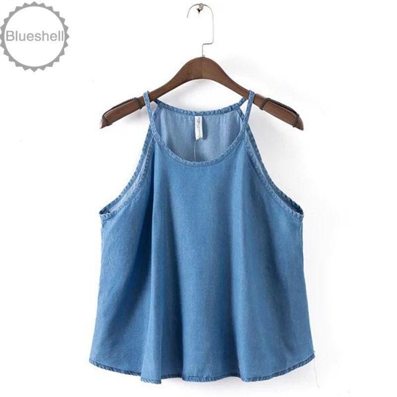 Fashion women denim tank tops halter style womens sleeveless summer blouse brand strap denim women shirt camis