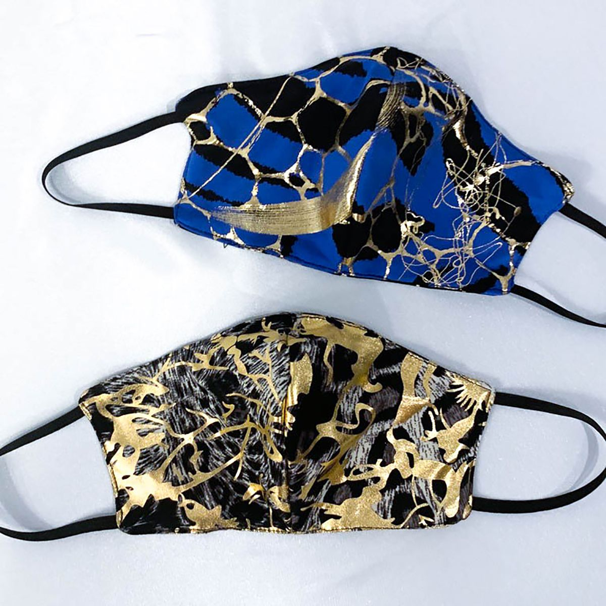 Blue & Gold Facemask For Women- Web Patterned