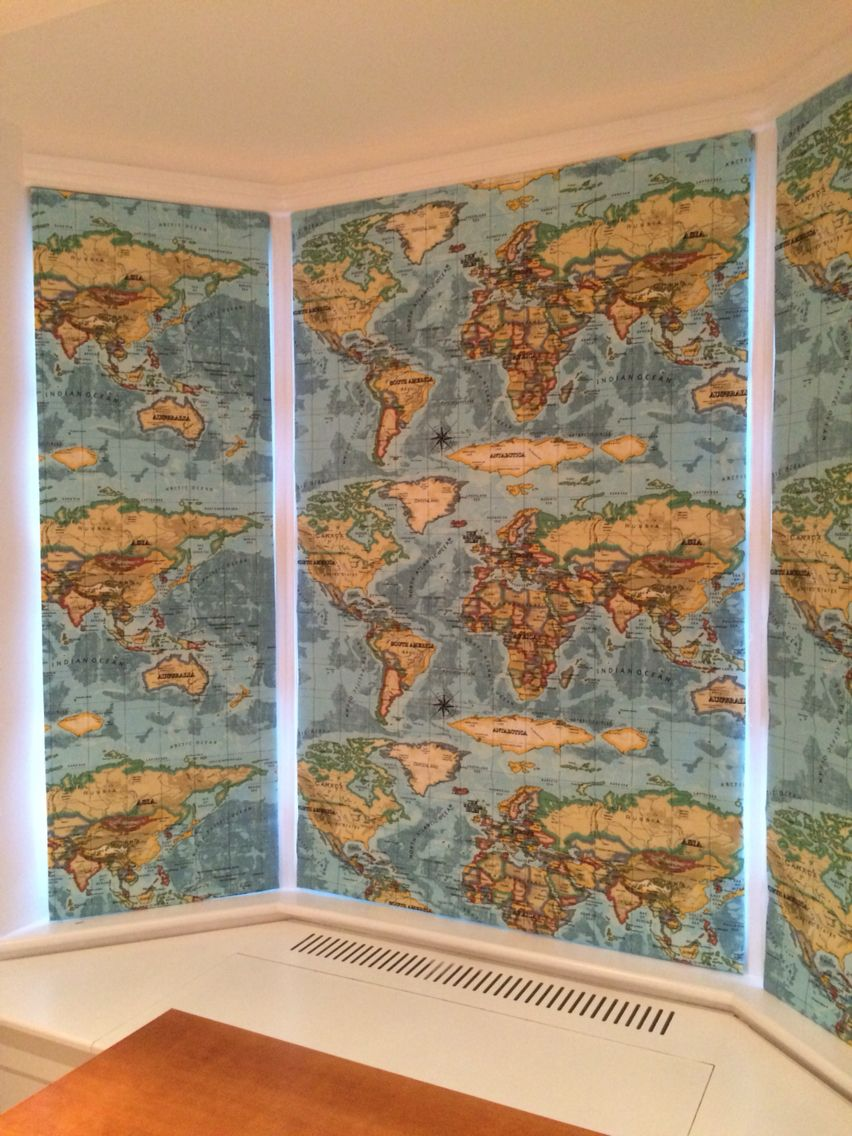 Lisa Gomer Interiors Work World Map Roman Blinds Perfect For Boys - World map for boys room