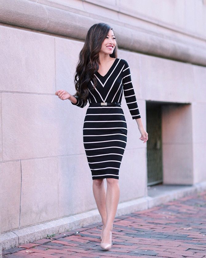 14de755faa Black and white knit striped knee-high dress+nude pumps. Fall Casual  Business Outfit 2016
