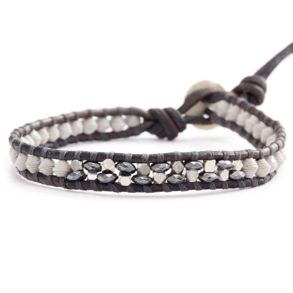 Chan Luu - Grey Mix Paper Bead Single Wrap Bracelet on Natural Grey Leather, $35.00 (http://www.chanluu.com/bracelets/grey-mix-paper-bead-single-wrap-bracelet-on-natural-grey-leather/)