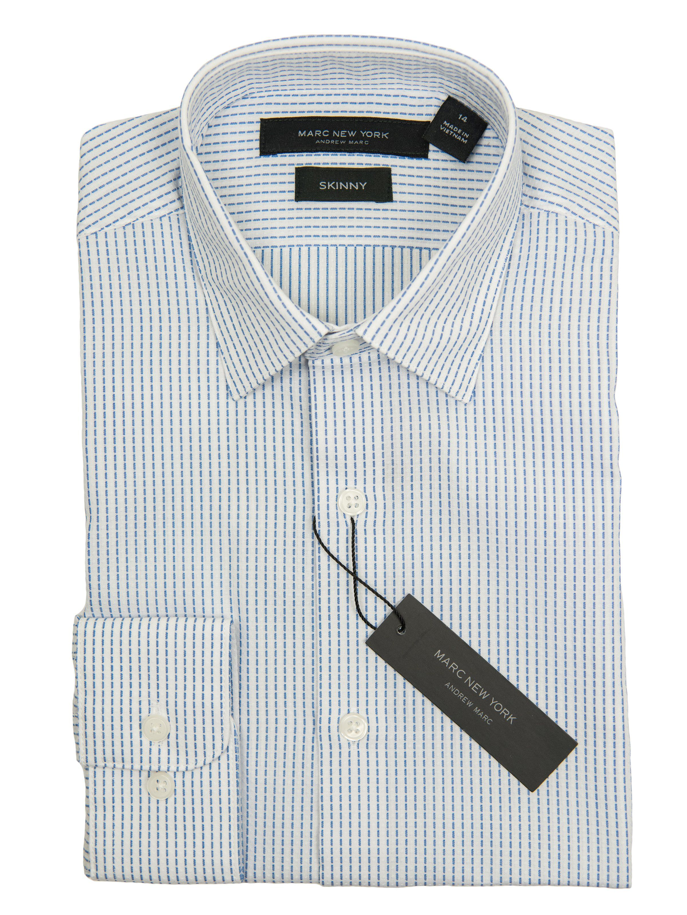 3443c8ac9b Andrew Marc 27370 Boy's Dress Shirt-White/Blue-Skinny Fit-Broken Stripe