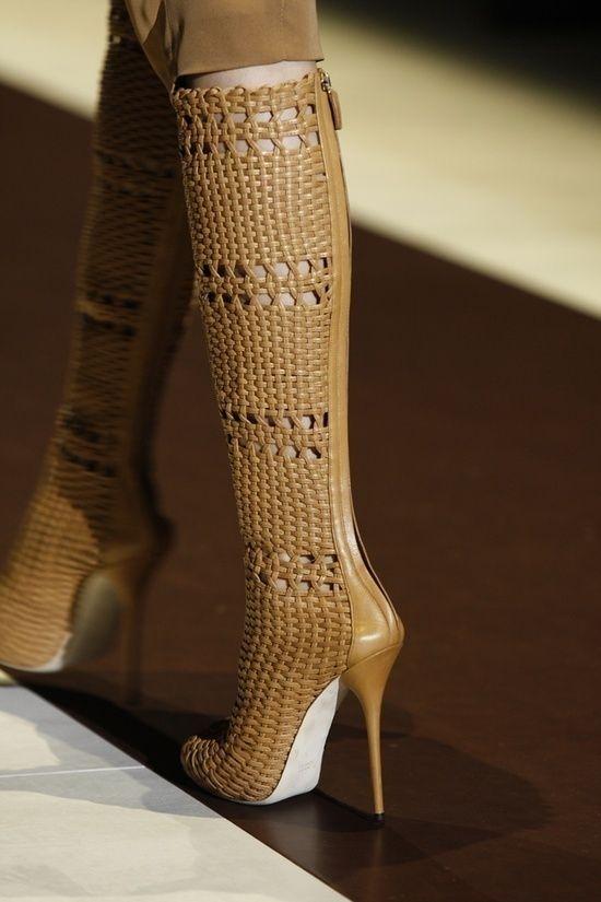 fashion high heels yellow mustard woven Gucci boots 2013 2014