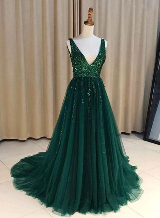 Green Deep V-Neck Long Prom Dresses Sequins Backless Evening Dresses A-Line Formal  Dresses 9f17047b4bf0