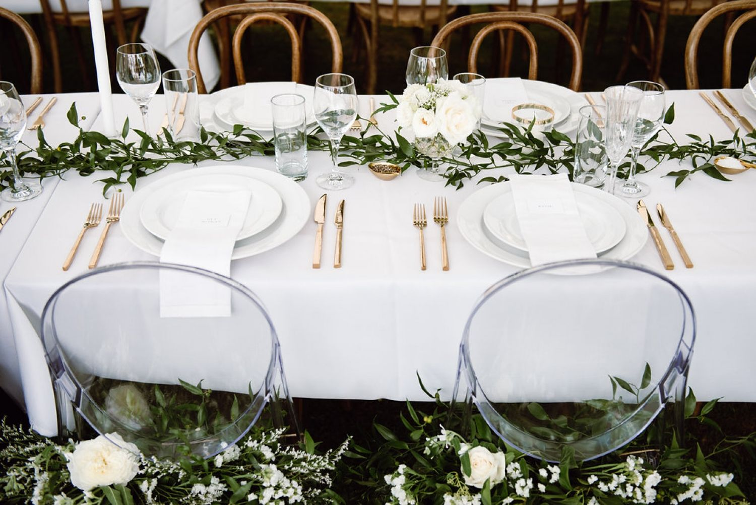 Wedding decor with ghost chairs  FOR THE RECEPTION  Long white tables with bentwood chairs ghost