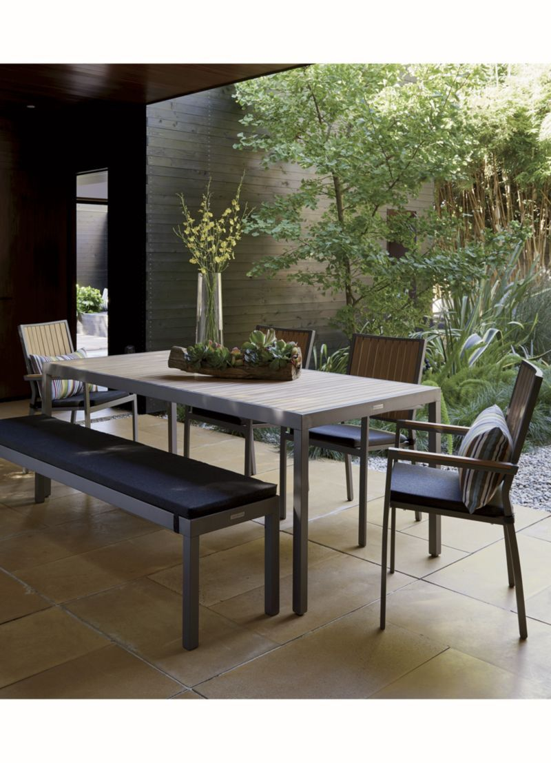 Alfresco Natural Dining Bench With Sunbrella Cushion Crate And