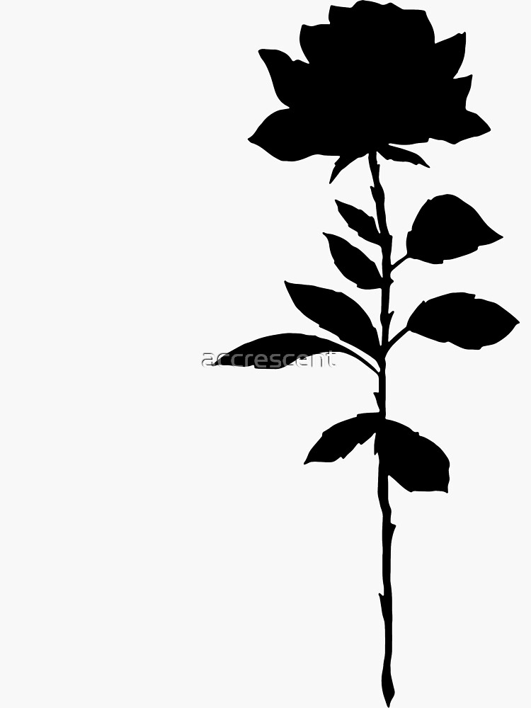 Simple Rose Silhouette Sticker By Accrescent In 2021 Black Tattoo Cover Up All Black Tattoos Silhouette Tattoos