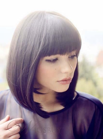 Soft Charming Bob Hairstyle Straight Human Hair Wig 12 Inches
