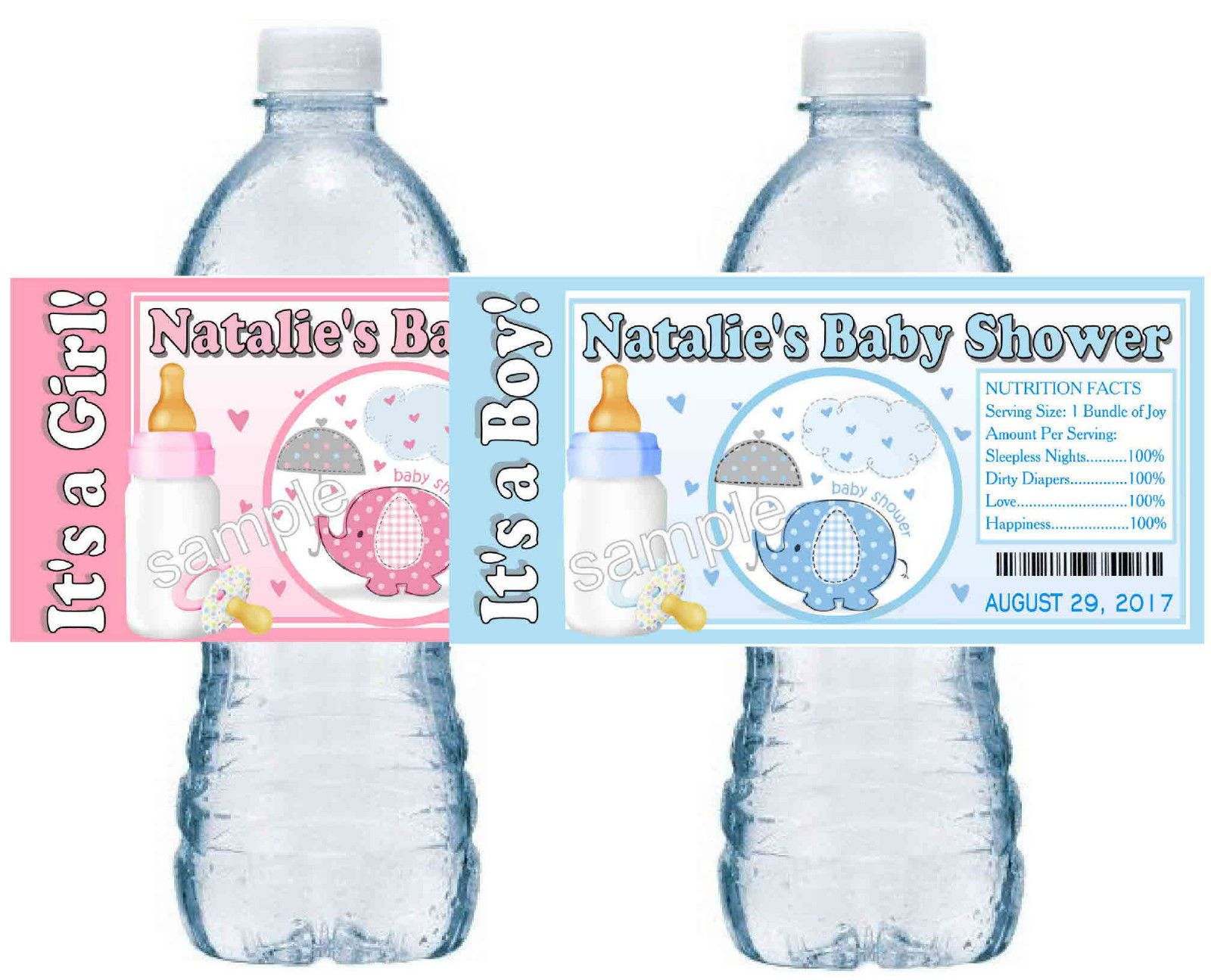 20 Blue Elephant Or Pink Elephant Baby Shower Favors Water