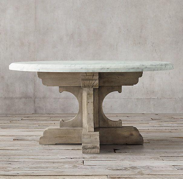 17th c french bastide oak u0026 marble round dining table
