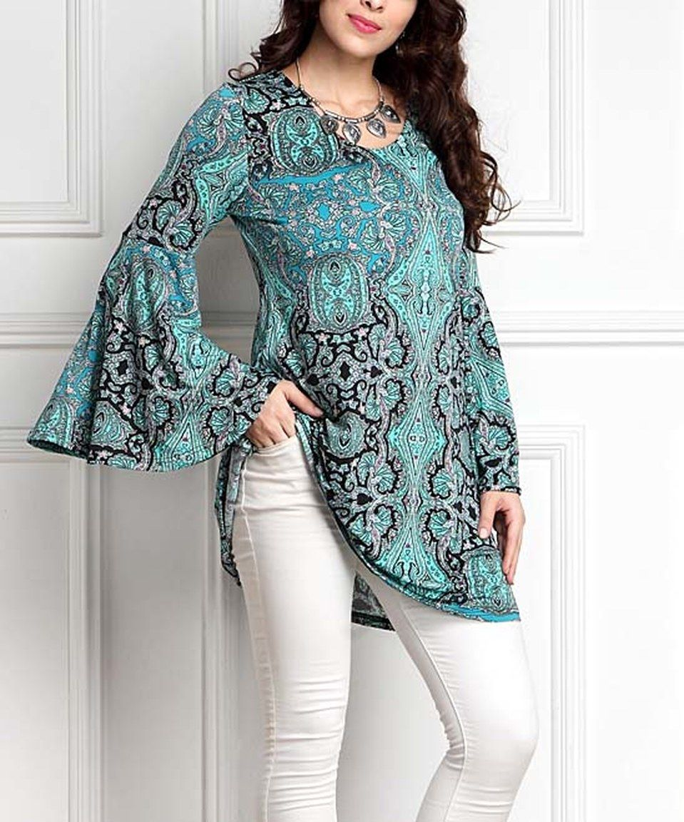 Look at this #zulilyfind! Aqua Paisley Bell-Sleeve Tunic - Plus by Reborn Collection #zulilyfinds
