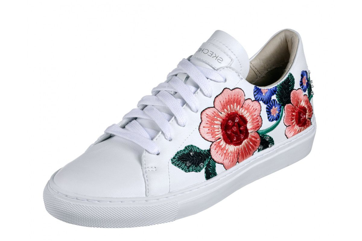 f6900381 Skechers Vaso Flor White Leather Floral Embroidered Memory Foam Trainers