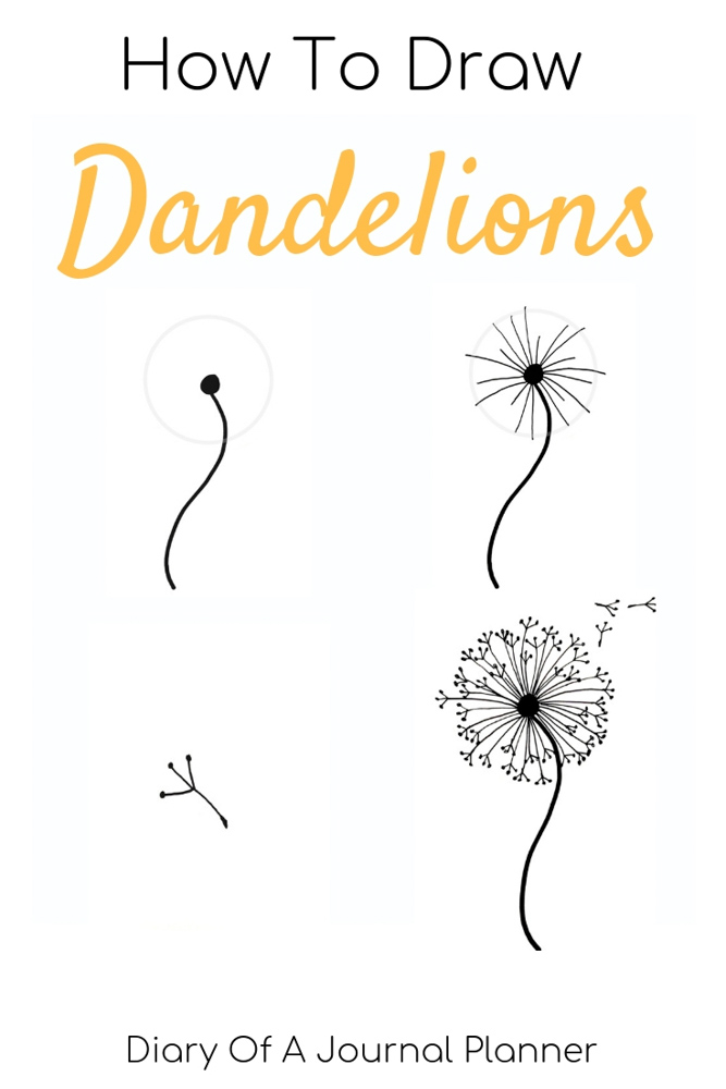 How To Draw A Dandelion Easy Dandelion Drawing Step By Step Tutorial Flower Art Drawing Dandelion Drawing Flower Drawing Tutorials