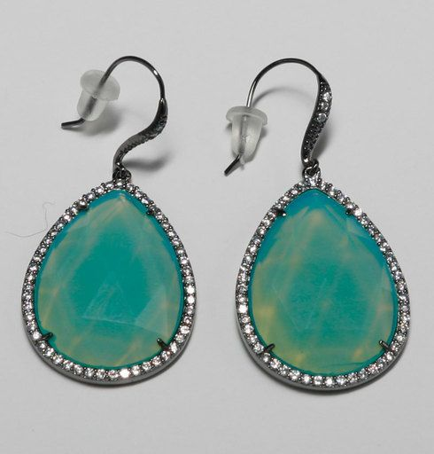Wire Tear Drop Earring with Pave + Pacific Opal Stone