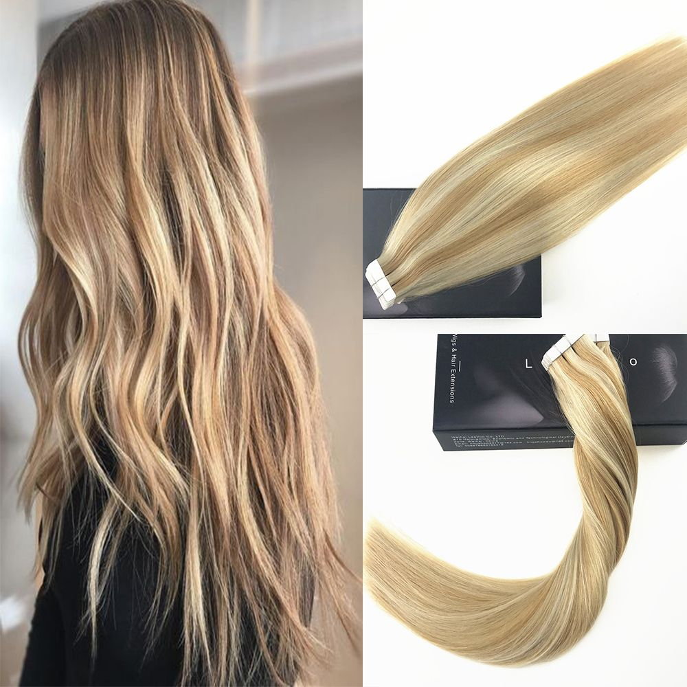 Blonde Highlight Tape In Human Hair Extensions Color P2760 50g