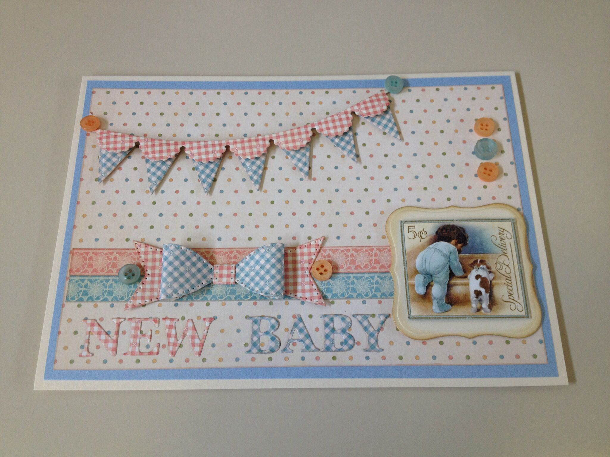 welcome new baby card made using spellbinders banners dies sue