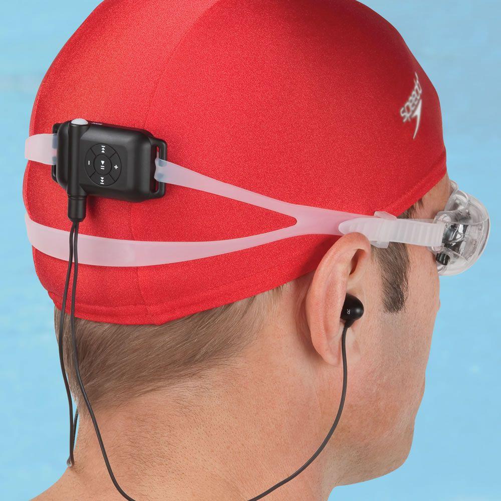 the swimmer 39 s waterproof mp3 player hammacher schlemmer need pinterest. Black Bedroom Furniture Sets. Home Design Ideas