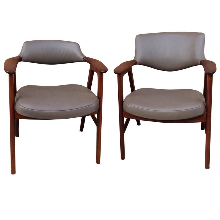 Midcentury His And Hers Walnut Leather Armchairs By Gunlocke