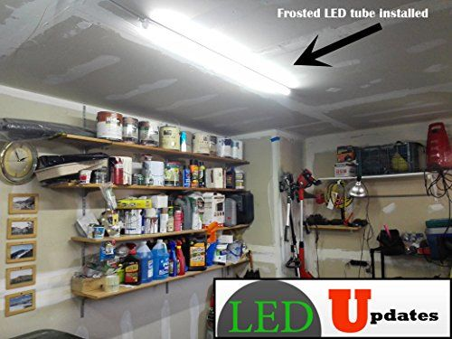 2x 4ft Integrated 20w LED Tube Shop Light Frosted Garage Basement With 6ft Power Cable LEDUPDATES