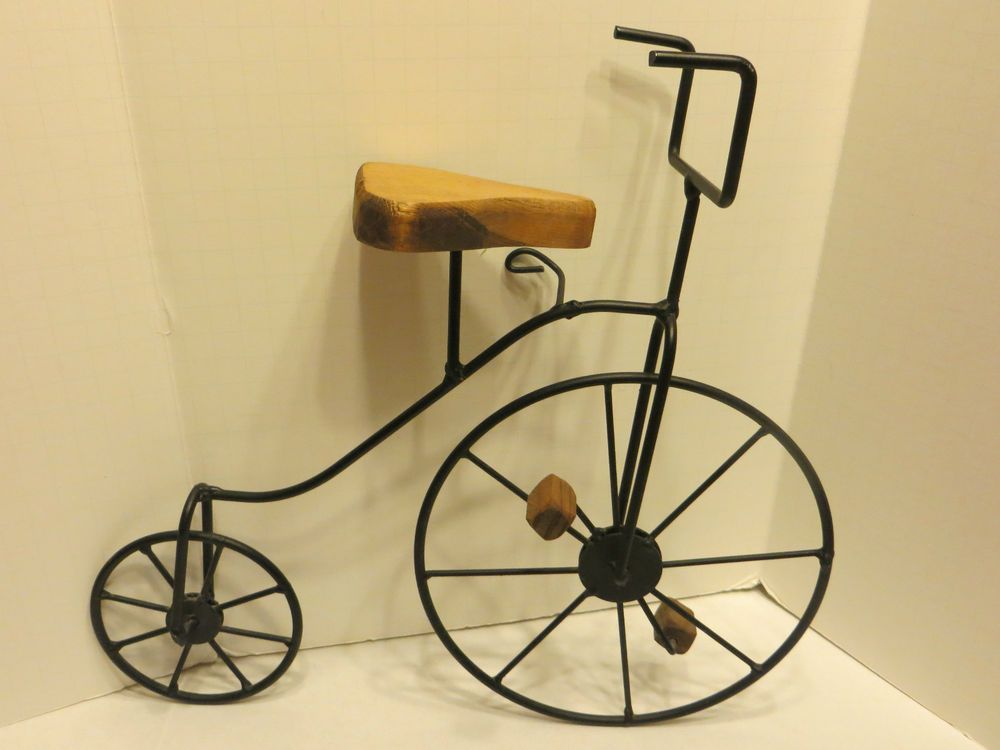 Small Black Metal High Wheel Bike/Bicycle w/Wood Seat & Pedals, Wall ...
