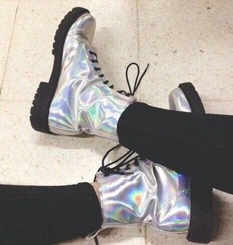 shoes boots metallic metallic shoes tumblr grunge grunge girl tumblr girl drmartens doc martins holographic #shoeboots