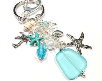 Starfish Keychain, Sea Glass Keychain, Beach Keychain, Beach Wedding Favors, Beach Lovers Gift, Tropical Gifts, Ocean Lover Gift Womens Gift